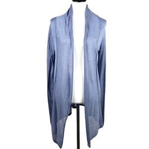 J Mclaughlin Cardigan Sm Blue Silk & Linen Blend